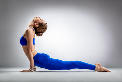 the yoga woman stretching